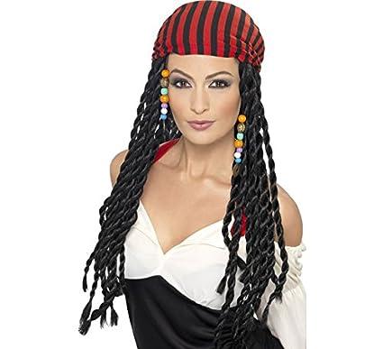 Peluca de Trenzas Negra y Bandana Mujer Pirata
