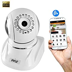 PyleHome Model : PIPCAMHD82WTIP Cam / WiFi Security CameraIP Cam / WiFi Security Camera, Full HD 1080p with Remote Surveillance Monitoring, Pan/Tilt Controls, App Download (White) Features:High Res Full HD 1080p HD Video RecordingSmart Digita...