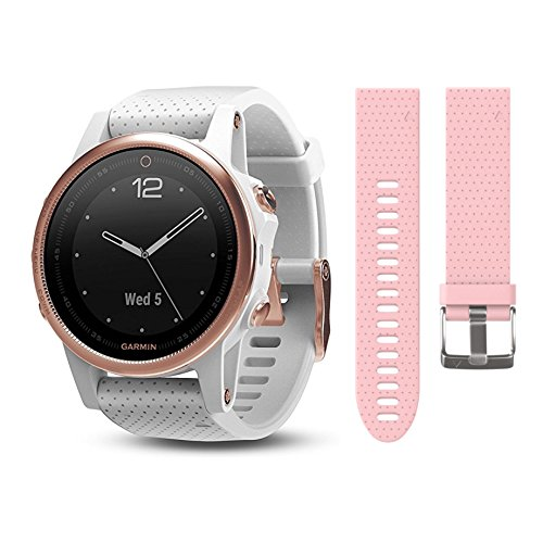 Garmin Fenix 5S Rose Goldtone Sapphire with White Band Watch 010 01685 16 and extra Wearable4U Pastel Pink 20 mm Quick Release Silicone Watch Band Bundle