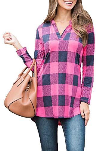 - LACOZY Womens Buffalo Plaid Tunic Shirts V Neck Long Sleeve T Shirt Pullover Blouse Tops Pink X-Large (18/20)