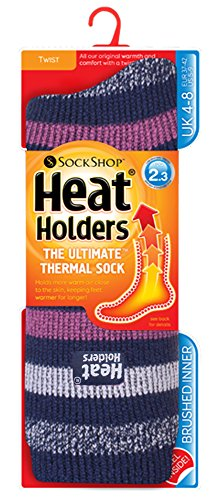 Heat Holders - Ladies Patterend Twist Thermal Socks in 10 Colours, Size 5-9 us (Keswick 1854)