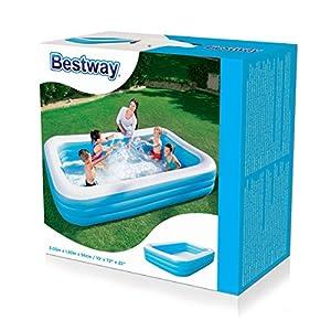 Bestway Piscine Gonflable Familiale Bleue Rectangulaire 305 x 183 x 56 cm Jardin