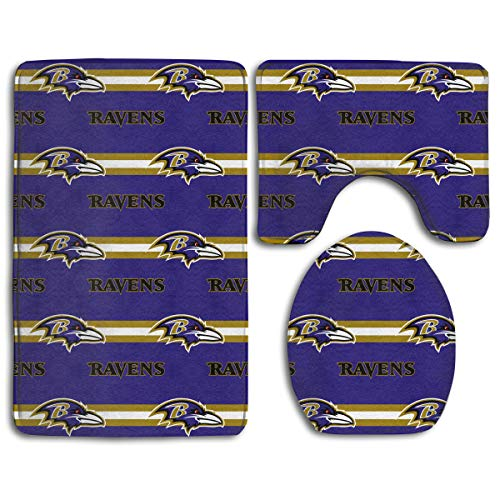 Sorcerer Custom Colorful Doormat American Football Team Baltimore Ravens Indoor Bathroom Anti-Skid Mats,3 Piece Non-Slip Bathroom Rugs,Non-Slip Mat Bath + Contour + Toilet Lid