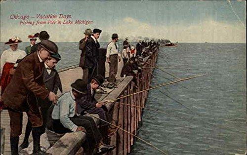 Fishing from Pier in Lake Michigan Chicago, Illinois Original Vintage Postcard
