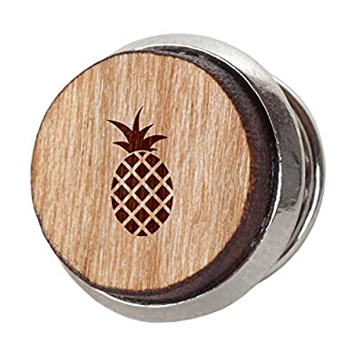 Pineapple Stylish Cherry Wood Tie Tack- 12Mm Simple Tie Clip With Laser Engraved Design - Engraved Tie Tack Gift