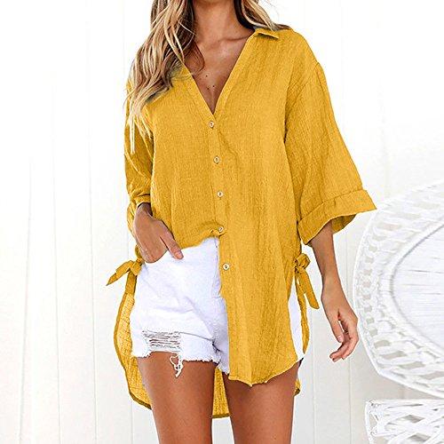 Bouton Ourlet Jaune Loose Blouse Mode Top Col Vintage Femme Irrgulier Manches Sunenjoy Shirt Classique V Longues Chemise T Chic Automne DContracte Tunique Blouse ggqX4fWU