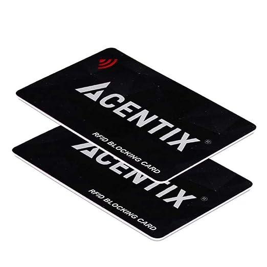 ACENTIX 2 X tarjetas de bloqueo RFID / NFC, Protección de tarjeta de crédito / débito para su cartera o bolso | No se requieren baterías, sin mangas ...