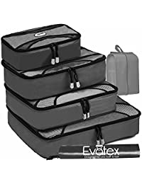 Evatex Packing Cubes | Travel Packing Cubes, 6pc Set with Shoe Bag |Laundry Bag (Gray)
