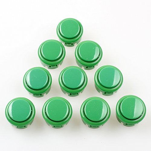 EG Starts OEM 10x Arcade 30mm Push Buttons Switch DIY for Arcade Fighting Stickers Mame Jamma PC Games - - Faceplate Oem Green