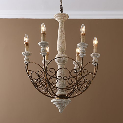 Jiuzhuo Rustic Chandelier Scrollwork Distressed Wood 6-Light Candle ...