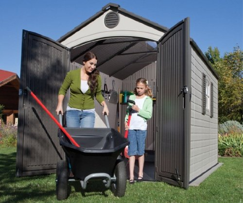 081483064055 - Lifetime 6405 Outdoor Storage Shed with Window, Skylights, and Shelving, 8 by 10 Feet carousel main 1