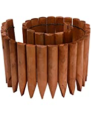 #G-K624A04-CA Light Brown Garden Border Edging Wood Tall Semicircle Stake, Plant Flower Decorative, DIY Garden Fence Lawn Landscape Edging, 11.81 in. H x 47.24 in. L #K624A04