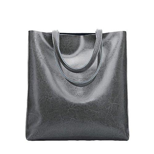 Dissa Q0807 Damen Leder Handtaschen Satchel Tote Taschen Schultertaschen Grau PDjhwrV