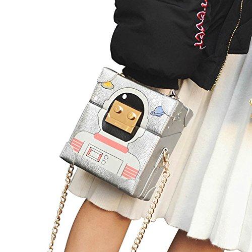 Fashion Cartoon Mini Shoulder For Purse Silver Women Bag Bag Robot Handbag Crossbody qrxCwtrp