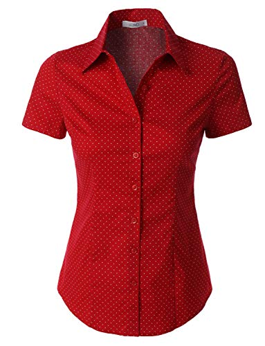(LE3NO Womens Polka Dots Short Sleeve Button Down Tailored Shirt,L3nwt2270_red,Large)