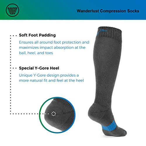 Wanderlust Compression Socks For Men & Women - Guaranteed Support To Eliminate Pain, Swelling, Edema - Best For Flight, Travel, Nurses, Maternity, Pregnancy, Varicose Veins, Stamina & Pain Relief. by Wanderlust (Image #4)
