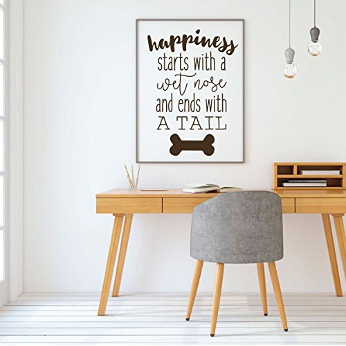 Dog Lover Gifts   Happiness Starts With A Wet Nose   Vinyl Sticker Wall Decal For Home Decor Or Veterinary Clinic Decoration