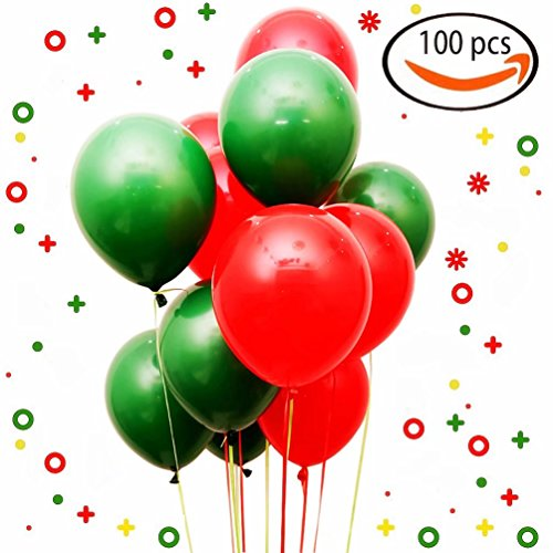 Send Balloons Same Day (AZOWA Christmas Balloons 100 Pcs Thickening Peal Latex Balloons Christmas Party Decorations for Kid's Birthday Party Supplies Wedding Baby Shower Decor (Red and Green, 12''))