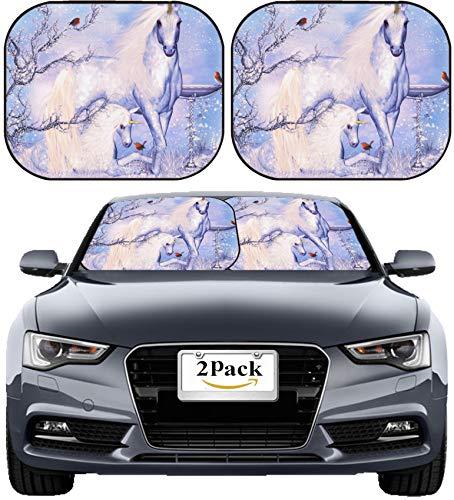 MSD Car Sun Shade Windshield Sunshade Universal Fit 2 Pack, Block Sun Glare, UV and Heat, Protect Car Interior, Image ID: 17665470 Fantasy Unicorn Winter Holiday Background Greeting -