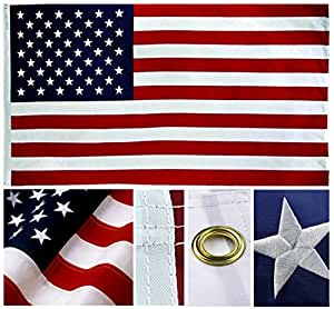 Shop72- U.S. Nylon American USA Flag 3 x 5 Ft - 210D Oxford Embroidered Stars Sewn Stripes Canvas Header Brass Grommet Wind Side Double Stitch
