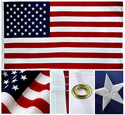 Shop72- U.S. Nylon Flag American Flag USA Flag 3 x 5 - 210D Oxford Embroidered Stars Sewn Stripes Canvas Header Brass Grommet Wind Side Double Stitch (Lights Usa Flag)