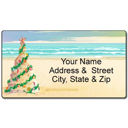 Beach Christmas Address Label - Beach Tree Customized Return Address Label - 90 Labels
