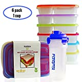 Kubzy 3 Compartment Bento Lunch Box Portion Control Meal Prep Food Storage Containers for Adults , Kids and FREE 500ml Drinking Cup with Lid - Reusable, Durable(Box with Blue Cup)