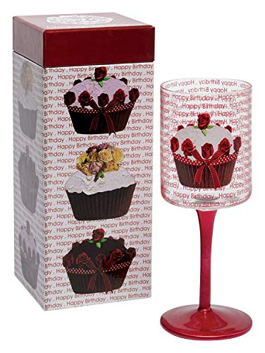 OKSLO Christopher vine design wine glass with colored long stem, happy birthday - Christopher Design Vine