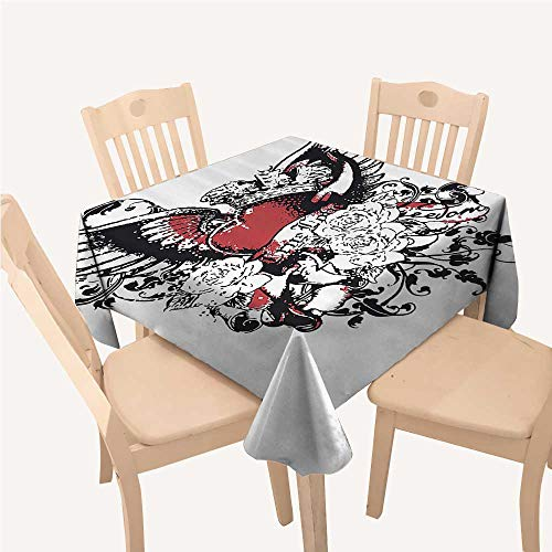 WilliamsDecor Modern Dining Table Cover Tattoo Style Heart Crown with Wings Artictic Love Valentines Gothic Romance GraphicBlack Red Square Tablecloth W54 xL54 inch