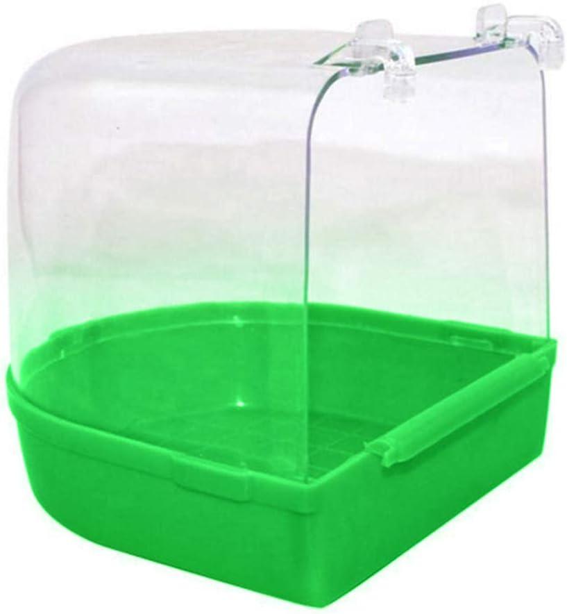 dontdo Pet Bird Parrot Bathtub Transparent Bathing Tub Shower Box Case Cage Hanging Decor Supply Blue