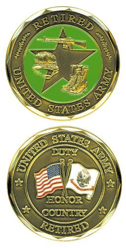 Logo Challenge Coin - United States Military US Army Retired USA Flag & Army Flag Green Star Logo