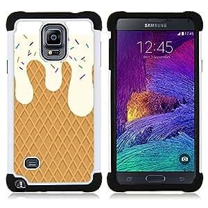 """Samsung Galaxy Note 4 IV / SM-N910 - 3 en 1 impreso colorido de Altas Prestaciones PC Funda chaqueta Negro cubierta gel silicona suave (Crema de la galleta dulces Summer Sun"""")"""