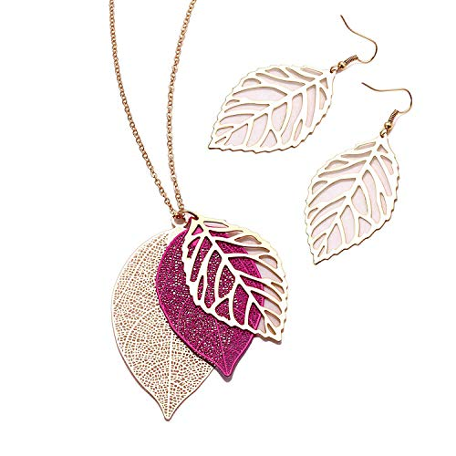 NVENF Leaf Earrings and Long Necklaces Set for Women Boho Gold-Tone Multi Tiered Leaves Delicate Chain Dangle Necklace SimpleLeaf Statement Dangling Earrings (E Rose Red) ()