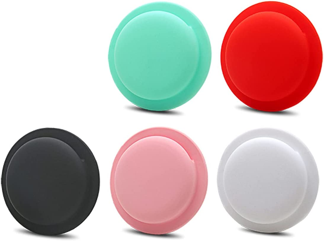 iCoolmate Silicone AirTags Case Protective Cover Case with Self-Sticker (Black White Red Blue Pink -5 Color Pack)