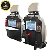 Oasser Kick Mats Car Seat Back Protectors Back of Seat Organizers 2 Pack XL with 1 Tissue Box Clear 10'' Ipad Holder 3 Large Storage Organizers