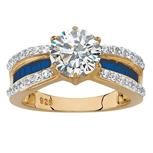 (14K Yellow Gold over Sterling Silver Cubic Zirconia and Simulated Blue Sapphire Engagement Ring Size 6)