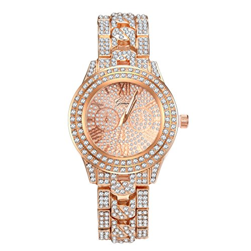 UUJOLIE Unisex Diamonds Studded Alloy Geneva Watch Luxury Shiny Watches for Men and Women (Rose Gold)