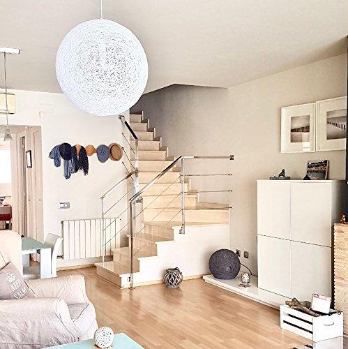 Lámpara techo redonda, nórdica, decorativa de hilo de algodón, artesanal, hecha a mano - SPHERE 50