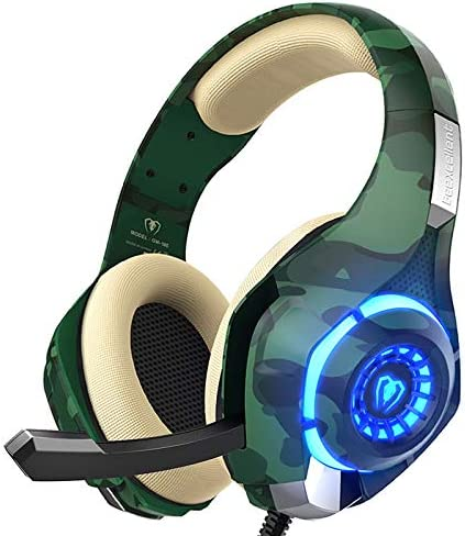 PS4 Gaming Headset with mic, Beexcellent Xbox One Headset with Stereo Sound Noise Isolation Memory Foam LED Light for PC Laptop Tablet