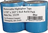 Lee Removable Highlighter Tape, 1-7/8'' Wide x 393'' Long, 2-Roll Refill Pack, Blue (13159)