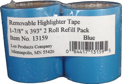 (Lee Removable Wide Highlighter Note Tape, 1-7/8 X 393 in, Blue, Pack of 2)