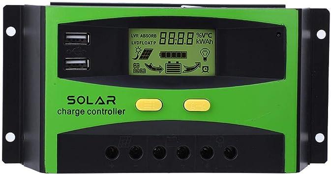 REGOLATORE DI CARICA per PANNELLI SOLARI 30 A per Fotovoltaico Display LCD