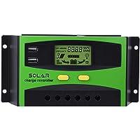 Controlador de carga solar, 30A 48V Regulador de carga solar IP32 PWM Controlador de carga solar 28-10AWG Protección…