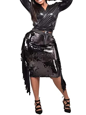 3a492a96d5 OLUOLIN Women's Sexy PU Leather 2 Piece Outfits Lace up Long Sleeve Tops  and Sequins Tassels Club Party Midi Pencil Dress Set at Amazon Women's  Clothing ...