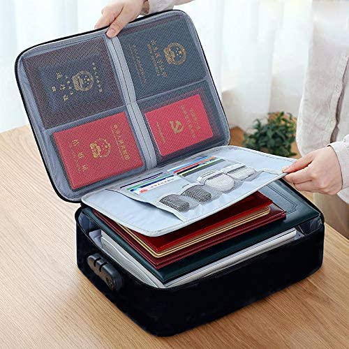 Canvas Documents Organizing Padfolio Waterproof Pouch Zippered Case Black-Three Layers