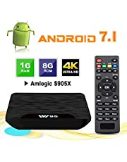 TV Box Android 7.1 - VIDEN W1 Smart TV Box Amlogic S905X Quad Core, 1GB RAM & 8GB ROM, 4K*2K UHD H.265, HDMI, USB*2, WiFi Media Player, Android Set-Top Box [Versión Mejorada]