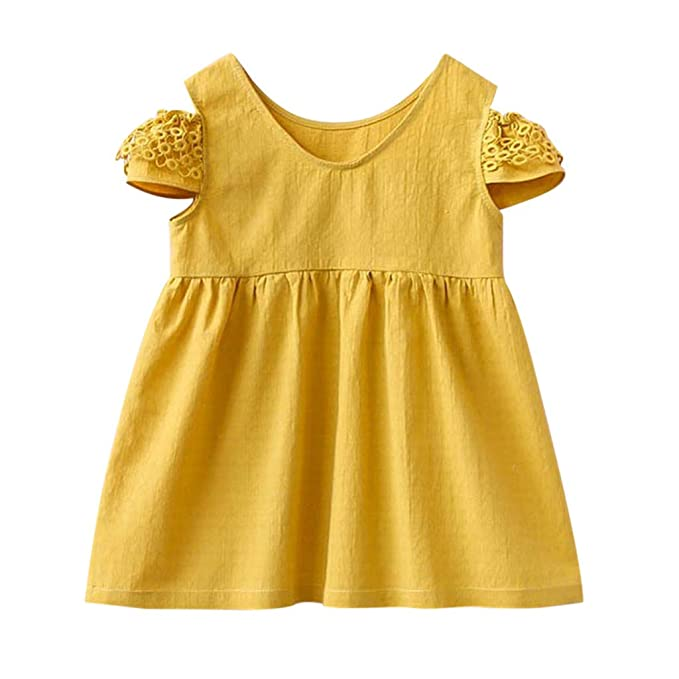 0d444a5095ff Amazon.com  DORIC Toddler Kid Baby Girl Summer Dress Strapless Short ...