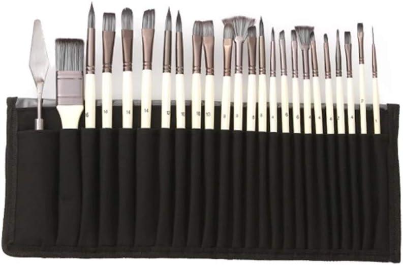 LXDWJ 24pcs Nylon Hair Manija de Madera Acuarela Pinceles Pen Scraper Scraper Scrubbing Brush Set DIY Oil Acrylic Pintura
