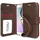 Galaxy S6 Edge Case, TORU [Prestizio Wallet] S6 Edge Wallet Case with [CARD SLOT][ID HOLDER][KICKSTAND][WRIST STRAP] - Premium Wristlet Leather Flip Cover for Samsung Galaxy S 6 Edge - Brown