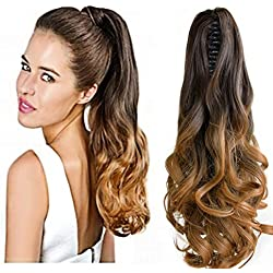 """Neverland Beauty 20""""(50cm) Ombre Two Tone Long Big Wavy Claw Curly Ponytail Clip in Hair Extensions 6#/27#"""